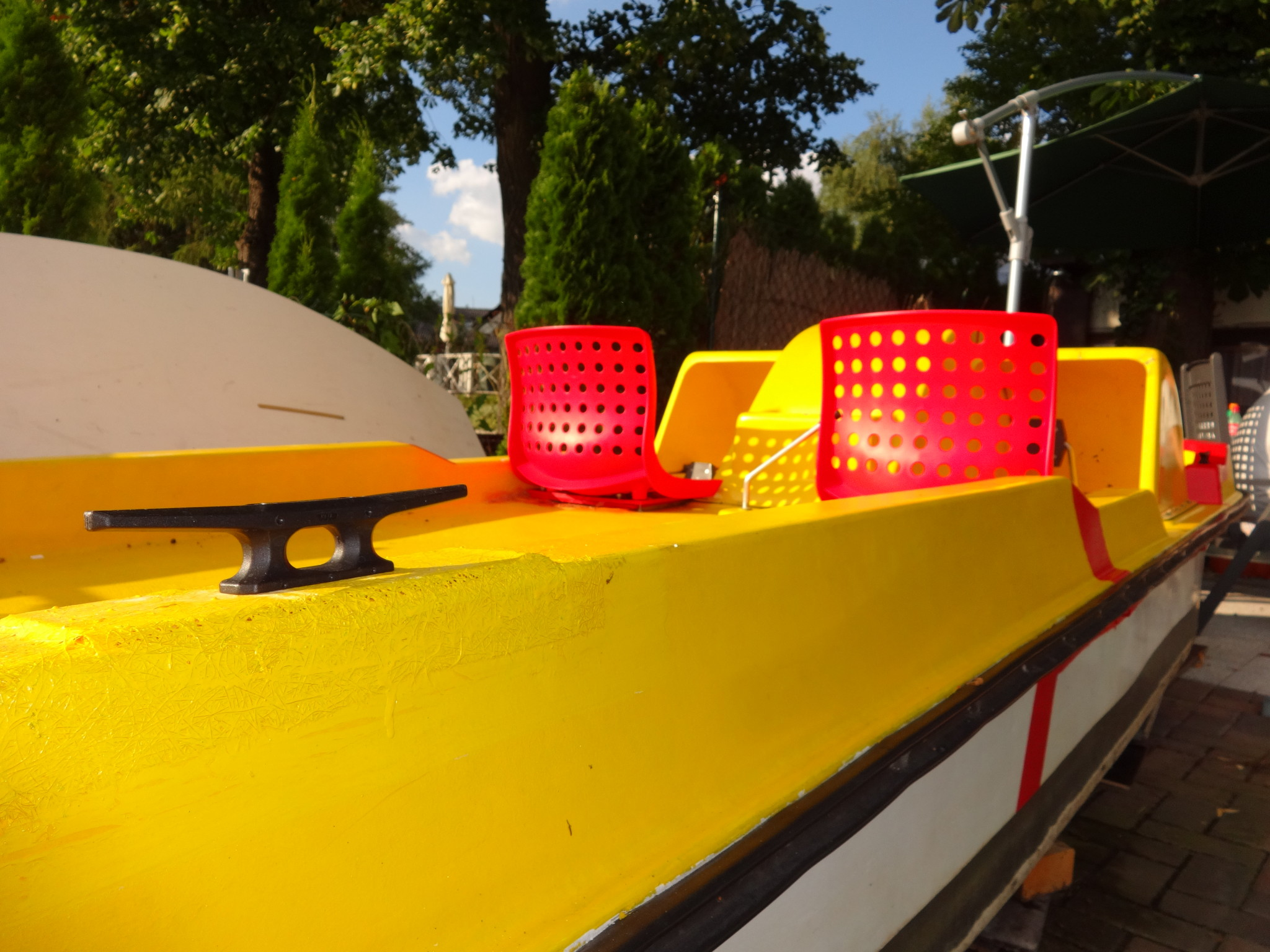 Finished boat pedalo red yellow