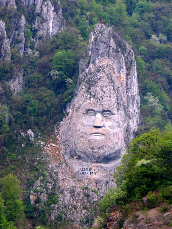 Carved face of King Decebalus, Iron Gates gorge, Danube