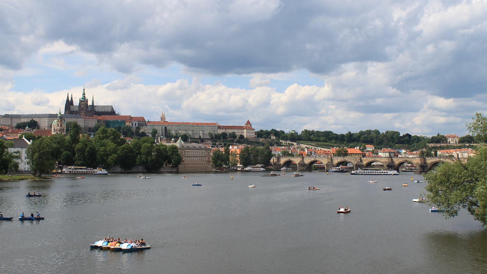 boats river moldau prague city czech republic
