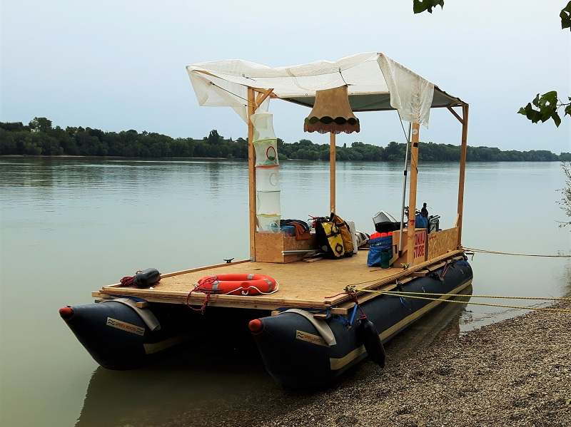 raft danube hungary austria homemade self built ikea